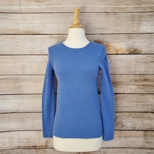 J. Crew Blue Crew Neck Wool Cotton Blend Sweater